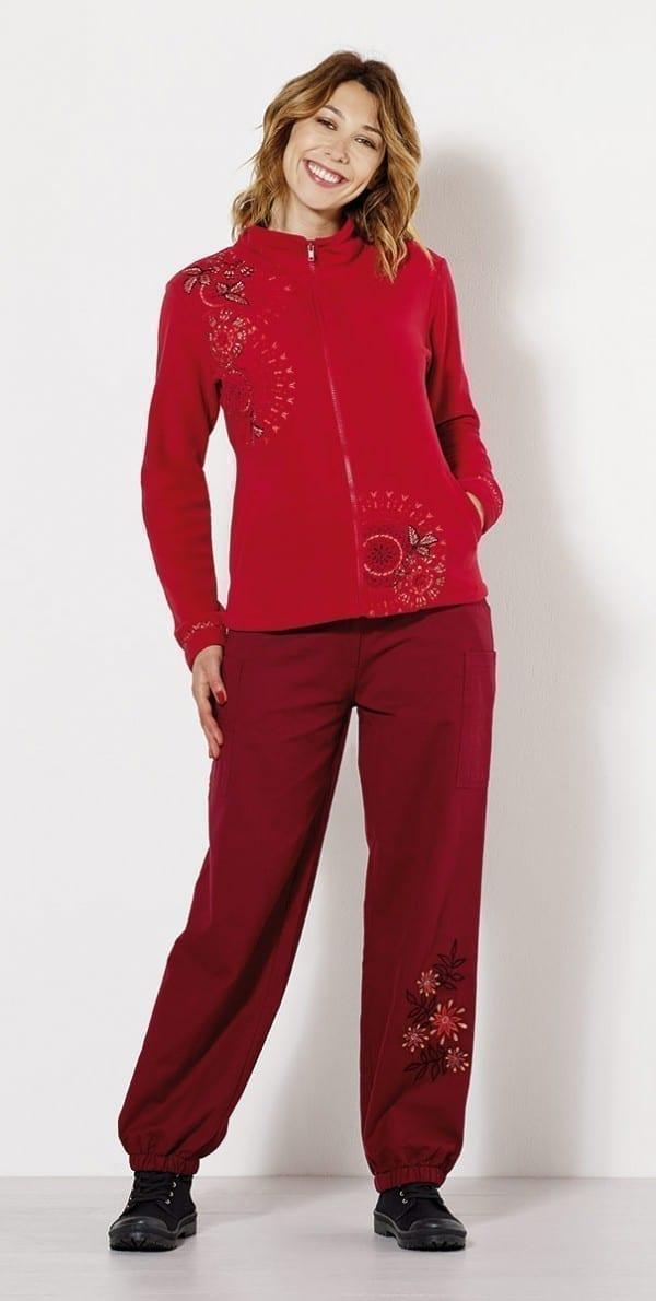 33207 Pantalon femme en toile brode -