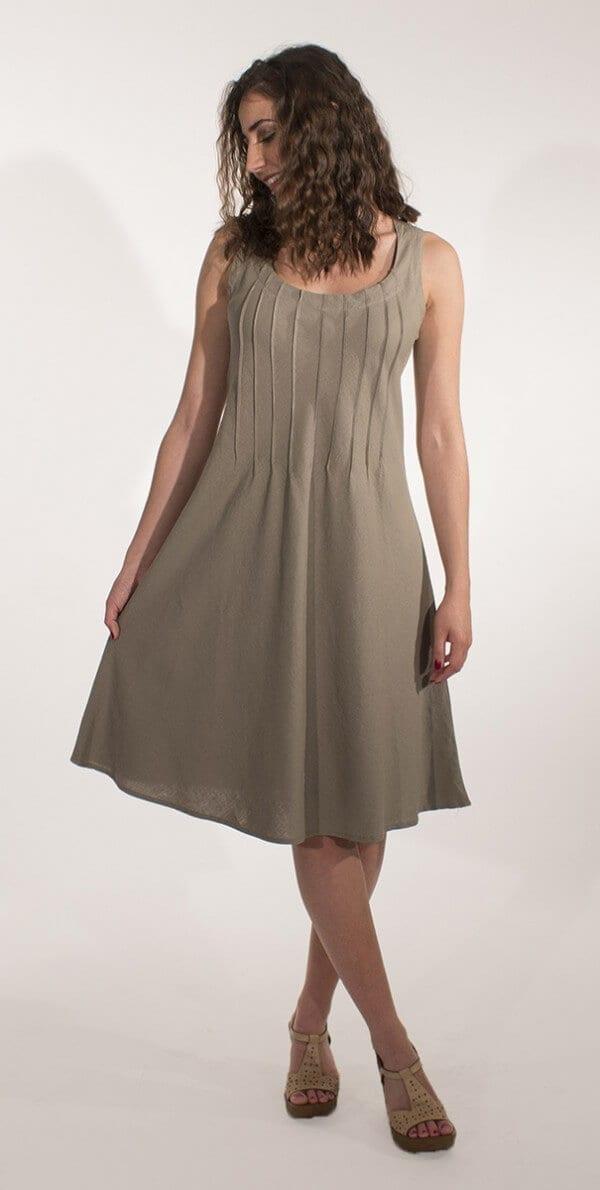 Obleka iz viskoze in lanu RO16344 (1)