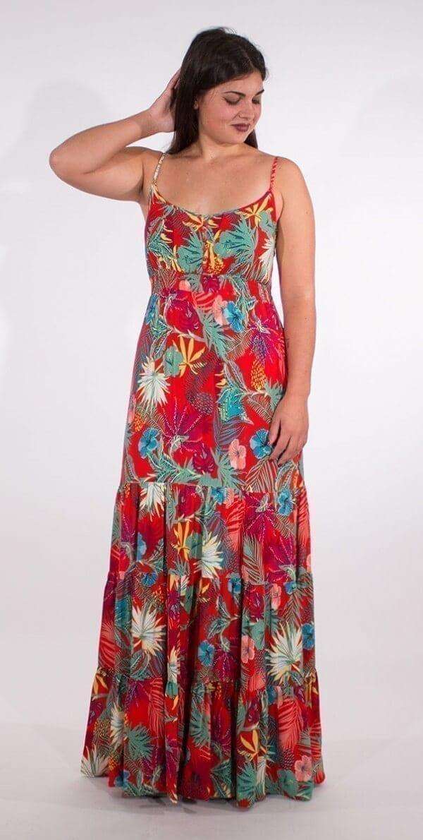 Dolga obleka iz viskoze RO16552 (2)